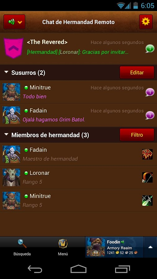 Armería de World of Warcraft: captura de pantalla