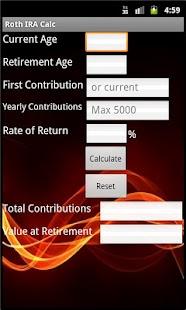 Roth IRA Calculator- screenshot thumbnail