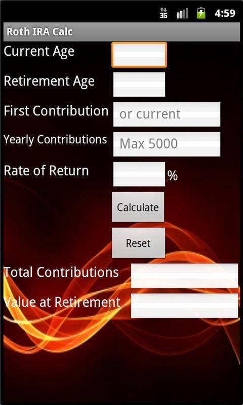 Roth IRA Calculator- screenshot