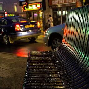 Soaked in the Rain by Taeef Najib - City,  Street & Park  Street Scenes ( uk, london, bench, station, street, eastham, wet, rain, city )