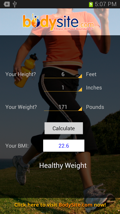 BodySite.com BMI Calculator - screenshot