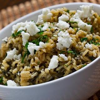 Spanakorizo (Greek Spinach Rice).
