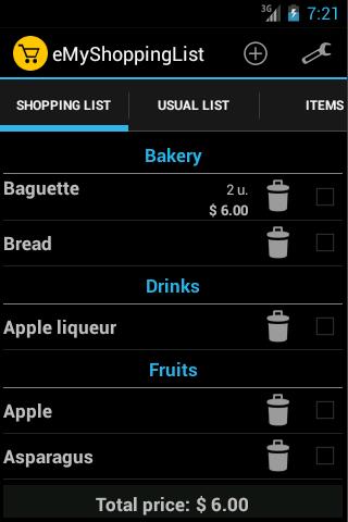eMyShoppingList - Lista compra: captura de pantalla