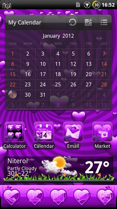 Valentine Purple GO Theme - screenshot