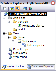 VWDEXHelloWorldASPNETMVCSolutionExplorer