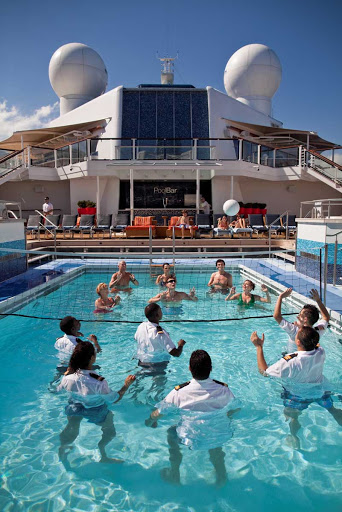 Celebrity Silhouette's staffers aren't afraid to challenge guests to a game of water volleyball.