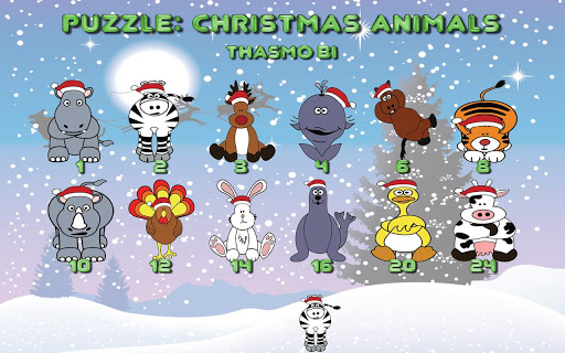 Puzzle: Christmas animals HD