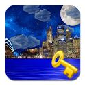 Night city from sea LWP Key icon