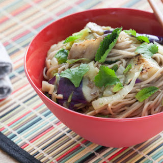 Japanese Eggplant & Soba Noodles with Taiwanese Bok Choy.