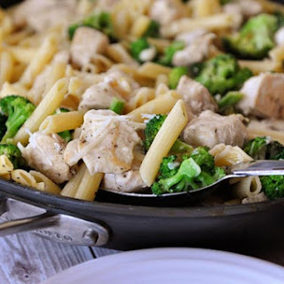 Skillet Creamy Lemon Chicken Pasta with Broccoli.