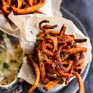 Skinny Tandoori Butter Sweet Potato Fries w/Creamy Baked Harissa Feta..