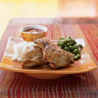 Seared Chicken with Sriracha Barbecue Dipping Sauce.