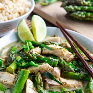 Thai Fish Green Curry with Asparagus and Peas.