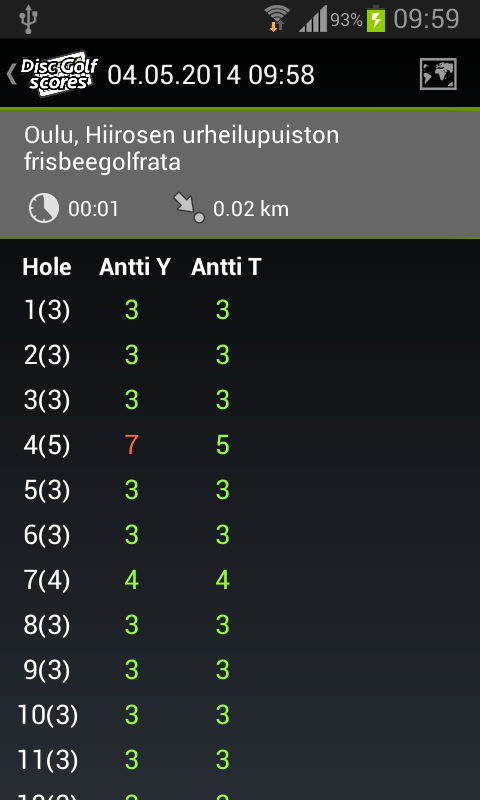DGSMobile - DiscGolfScores - screenshot