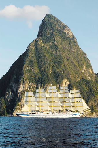 Royal-Clipper-in-St-Lucia - Royal Clipper offers guests awesome views of St. Lucia and the Pitons as it sails the island nation's coast.