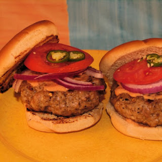 Jerk-Seasoned Pork Burgers.