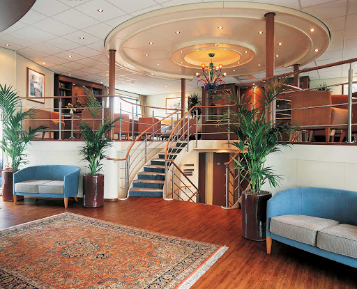 The classically designed reception area of the sister ships Viking Neptune, Viking Pride and Viking Spirit.