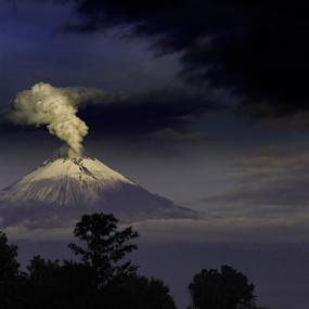 Popocatepetl between storm and smoke by Cristobal Garciaferro Rubio - Landscapes Mountains & Hills ( volcanopopo, popocatepetl, storm, snowy volcano, smoking volcano, smoke )