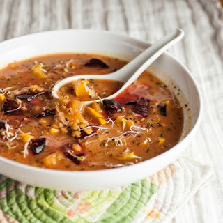 Spiced Lentil Soup with Roasted Beets & Delicata Squash.