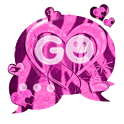 GO SMS Pink Theme Heart Zebra icon