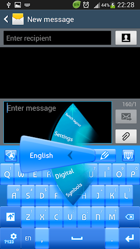 GO Keyboard Blue Neon