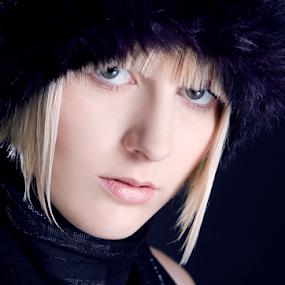 Scarf by Barbora Irish Wolfhound - People Portraits of Women ( blonde, girl, scarf, black,  )