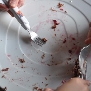 Chocolate Shortcake with Blood Orange Sauce.