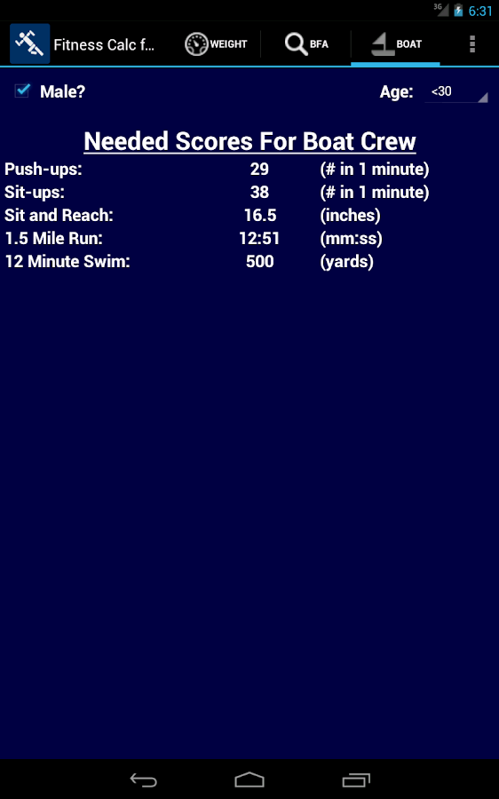 US Coast Guard Fitness Calc - screenshot