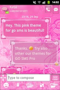 GO SMS Pro Theme Pink Flowers - screenshot thumbnail