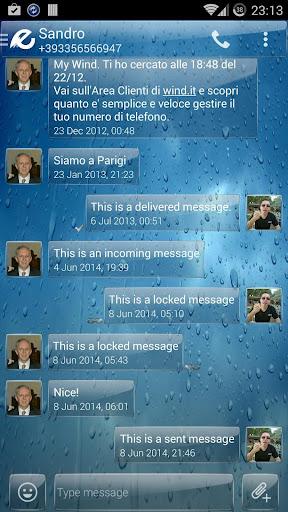 Theme Glass Rain for SMS