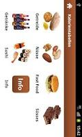 Screenshot of Kalorientabellen