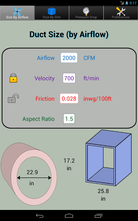 Ventilation Duct Sizing Calculator : Duct calc elite ductulator android apps on google play