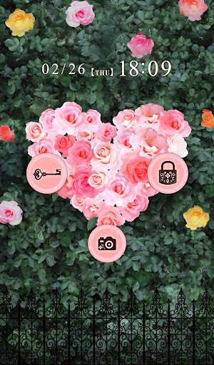 おしゃれなきせかえ壁紙★大人かわいいハート薔薇の庭園