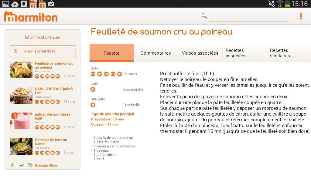Marmiton Tablette : recettes - screenshot