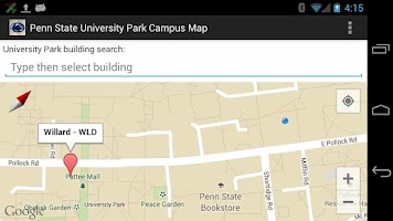 Screenshot of Campus Map for Penn State