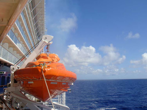 A  lifeboat aboard Celebrity Solstice.