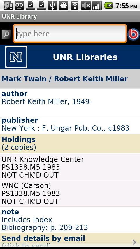 UNR Library- screenshot