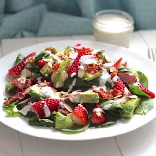 Bacon, Avocado & Strawberry Salad with Greek Yogurt Poppyseed Dressing.