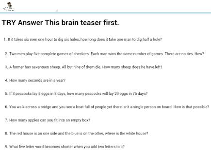 Brain Teasers For Kids Brain Teaser For Kids