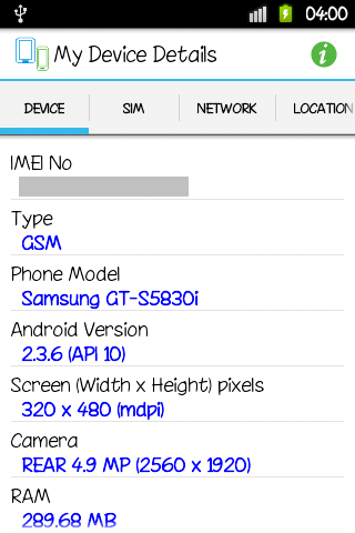 My Device Details
