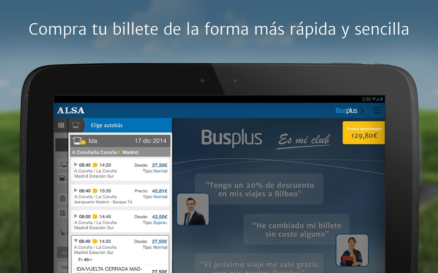 ALSA: compra tu billete de bus – Screenshot