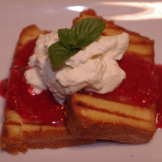 Grilled Pound Cake With Raspberry Orange Sauce And Orange Cream