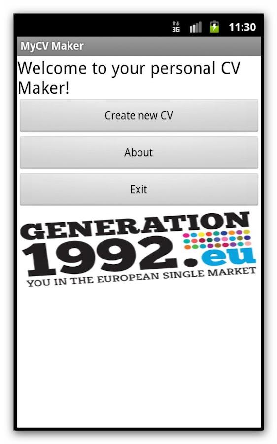 mycv maker screenshot