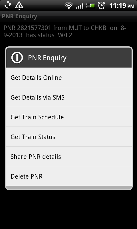 PNR Enquiry - screenshot