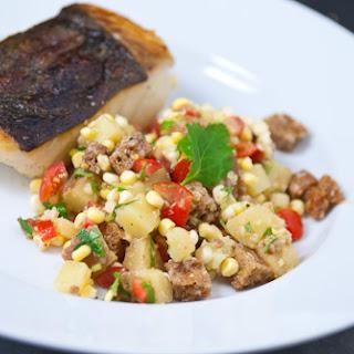 Crispy Halibut with Wasabi Panzanella and Earl Grey Potatoes