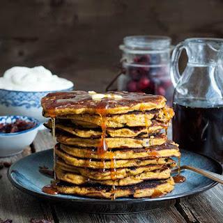 Gluten Free Pumpkin and Cranberry Pancakes.
