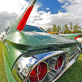 Ready For Take Off by Marco Bertamé - Transportation Automobiles ( car, red, grass, vintage, american, green, chrome, blade, cloudy, oldtimer, backlights, luxembourg,  )
