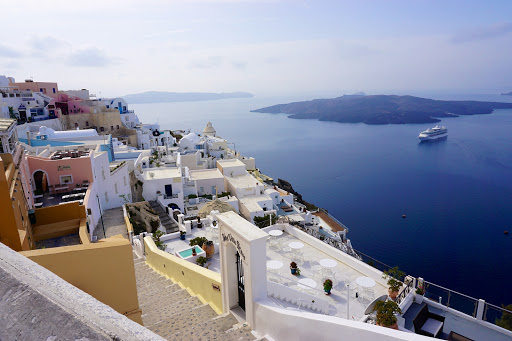Fira-Santorini-Greece - The scenic cityscape of Fira (or Thira) on Santorini, Greece.