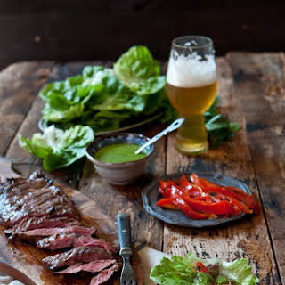 Porter Marinated Flank Steak Lettuce Wraps with IPA Chimichuri.