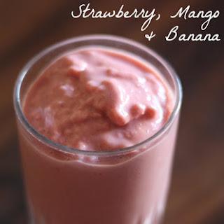 Strawberry Mango & Banana Smoothie.